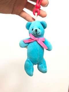 藍色小熊鎖匙扣公仔
