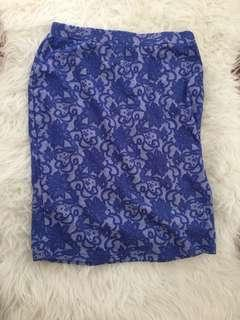 Lace blue floral print skirt