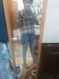 Caco 泛白牛仔刷色長褲