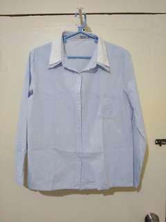 Light blue pinstripe button down long sleeve polo