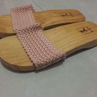 全新日本木屐 和服鞋 日系拖鞋 和風 粉色 實木 日本風情