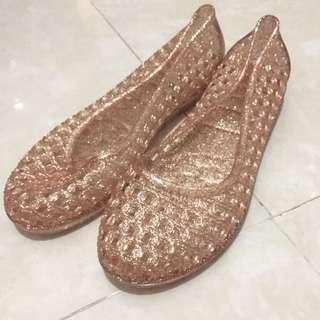 全新 rainy Shoes 女膠鞋 下雨鞋 啫喱鞋 鏤空 蕾絲 雨天必備