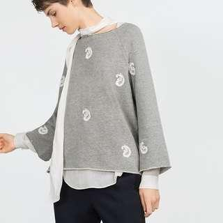 Zara paisley embroidered top