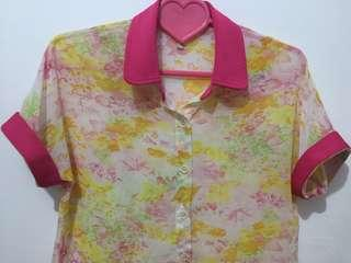 Floral Pink Sheer Top