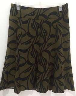 H&M Black and Moss Green A-Line Flowy Skirt(FREE Shipping)