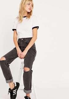 Dark Washed Knee Ripped Mom Jeans