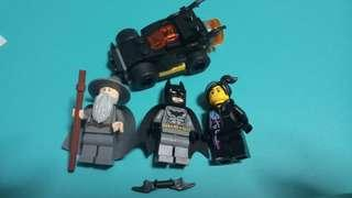 (Price for all) Lego minifigs batman, lord of the rings gandalf, lego movie wydestyle, & mini batmobile