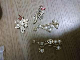 🚚 垂墬耳環/珠寶別針 合售