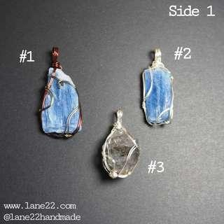 Kyanite, Quartz with mica, Black tourmaline raw gemstone crystal wire wrap pendant /non tarnish wires. Sensitive skin friendly. #1212