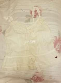 Hollister White Pleated Camisole S