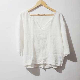 Zara linen v neck top