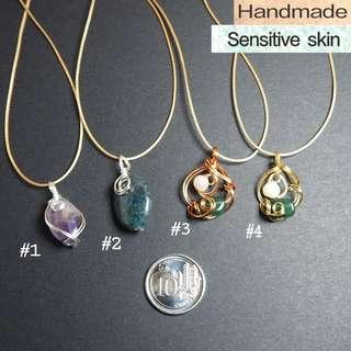Petite handmade gemstone wire wrapped pendants jewellery// sensitive skin, adjustable cord, dainty classy casual necklace #1212