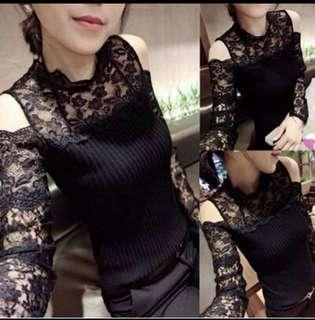 🚚 現貨M號韓版黑色氣質蕾絲長袖上衣