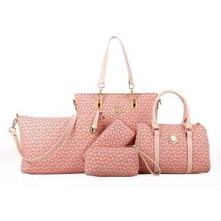 Instock 5 in 1 Ladies Sling Handbag Pink