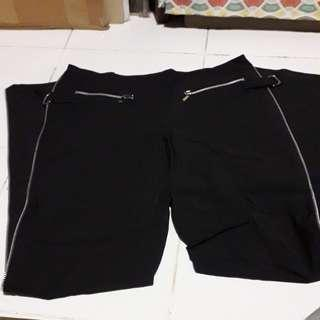 Ladies Long Black Zip Pants