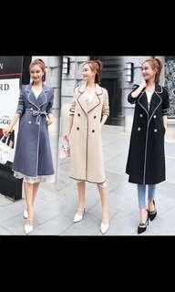 🚚 霧霾藍 高優質質感厚實秋冬新款繫帶保暖大衣外套
