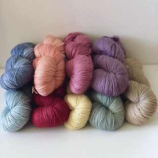Plant dyed fingering weight knitting and crochet yarn