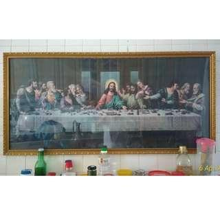 """🚚 Last Supper Puzzle Framed Picture + 7.5"""" crucifix"""