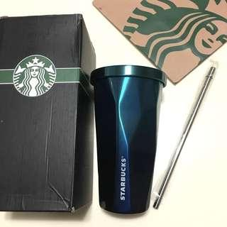 💎Starbucks Stainless Steel Straw Cup Water Matt Bottle 水杯 吸管杯 漸變藍色鑽石飲管杯 保溫水杯 Blue Diamond Cup