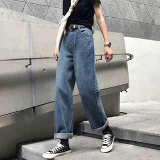 高腰水洗牛仔寬褲