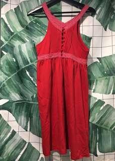 🚚 日本製紅色蕾絲洋裝