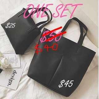 🆕 brand new tote bag shoulder bag 北極絨 黑色皮手袋 返工袋 $45 for Tote bag $50 one set