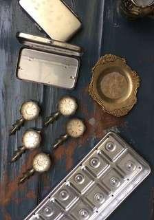 🚚 早期 古董 美國製鐵盤 銅製筷架
