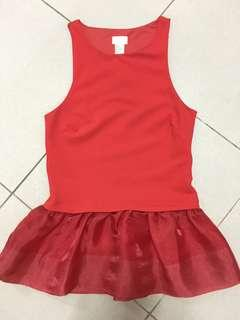 H&M Stretched Red Peplum Top