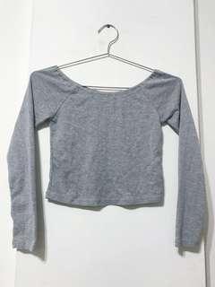 🔸消費即贈🔸灰長袖短版上衣