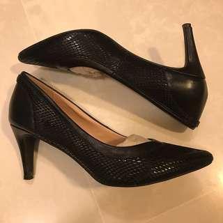 Elise Black Snake Skin Leather Work Heels