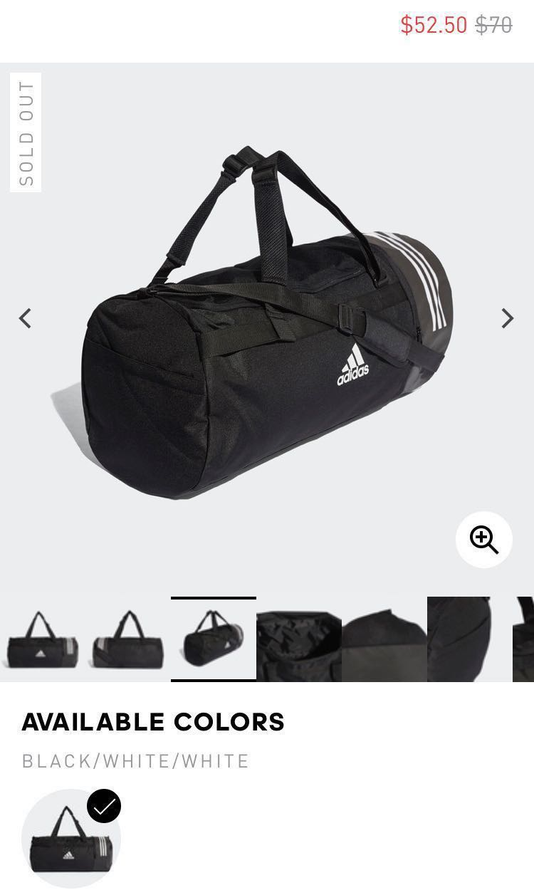 1f00aada7c ADIDAS DUFFLE BAG - CONVERTIBLE 3-STRIPES DUFFEL BAG LARGE
