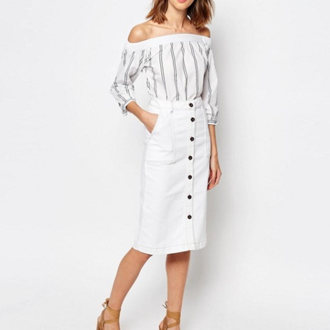 ASOS Warehouse Button Denim Midi Skirt Size 6 Great Condition
