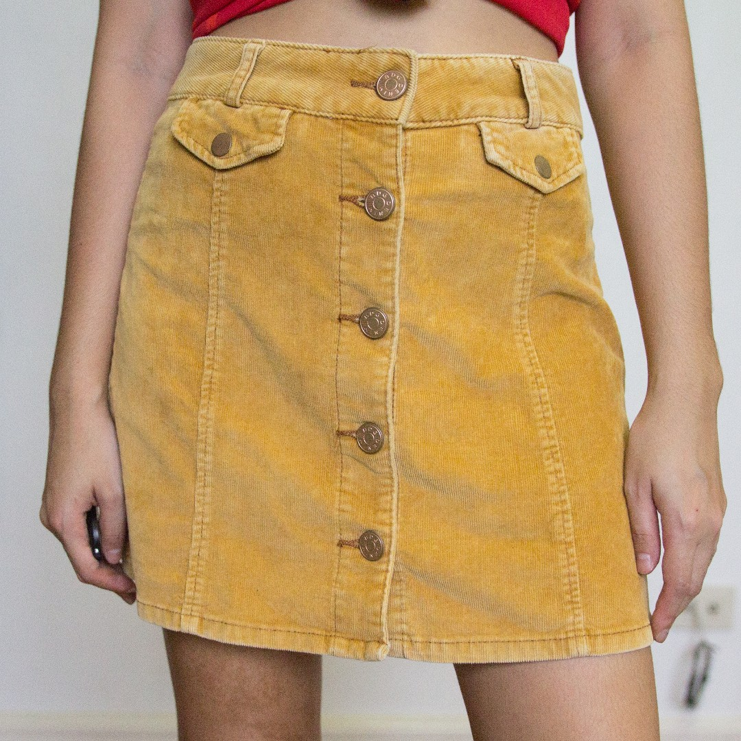 ff09b56dd BDG mustard corduroy buttondown a-line skirt, Women's Fashion ...