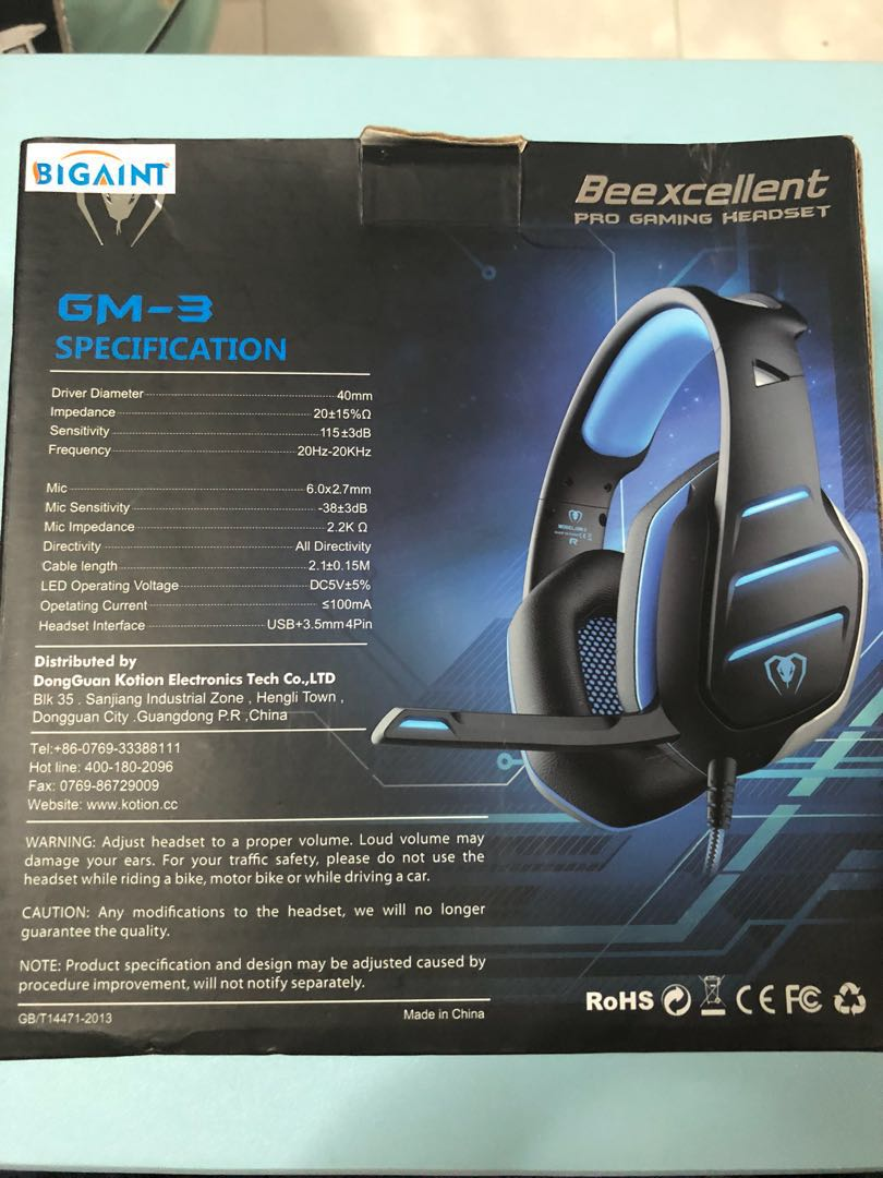 Beexcellent GM-3 Gaming Headset with LED Light, 3 5mm Mic Noise Isolation