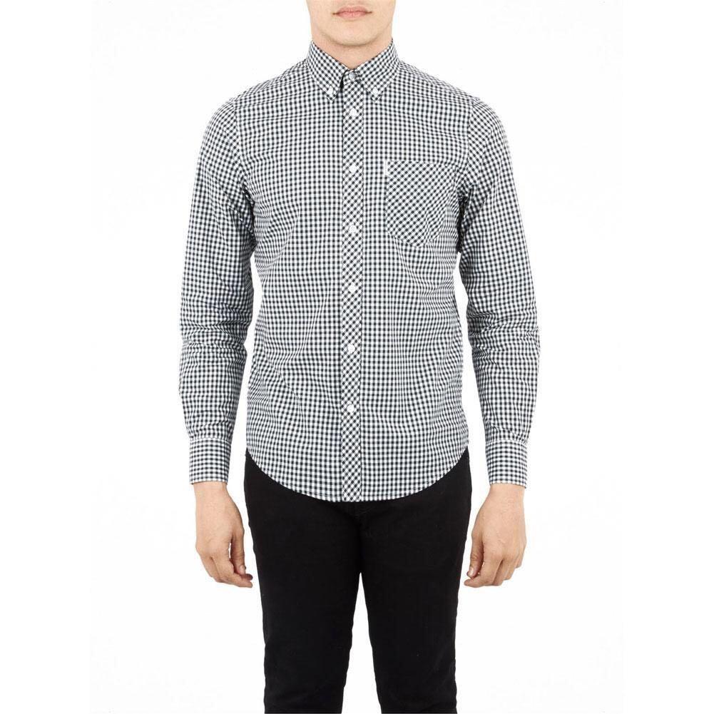 Ben Sherman - Gingham Mens Button-Up Long Sleeve Shirt