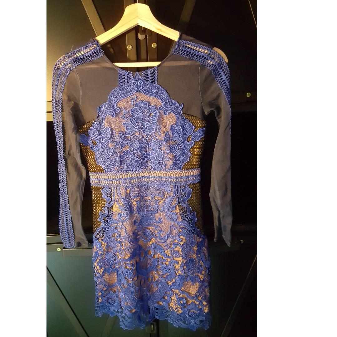 Blue Dinner Lace Dress (D10)