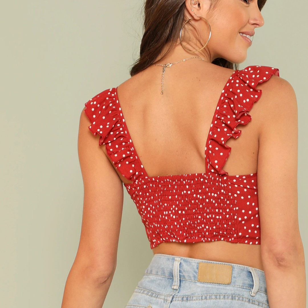 5166e0a64e1 *BNWT* SHEIN Drawstring Front Polka Crop Top With Ruffle Strap, Women's  Fashion, Clothes, Tops on Carousell