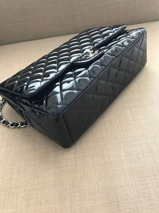 Chanel patent leather black lamb skin jumbo size RRP 7900