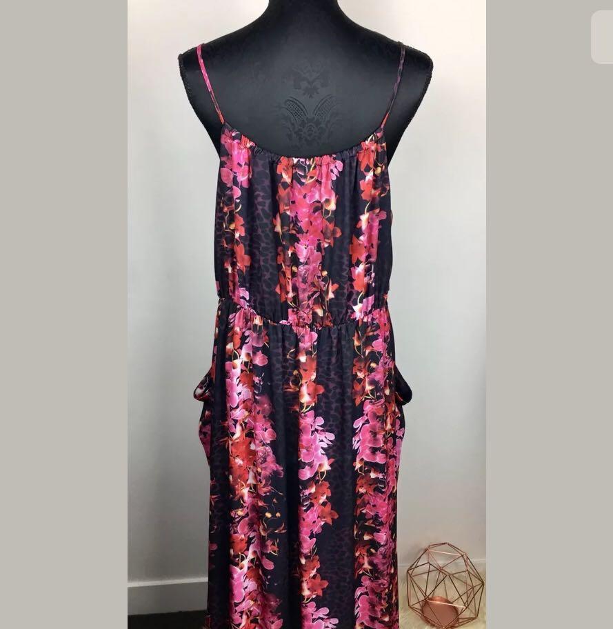 City Chic S/16 Black Pink Floral Summer Romance Frill Women Maxi Dress Plus Size