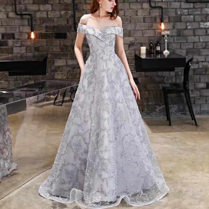 f4408f3d34e5 Grey elegant off shoulder dress   evening gown   Wedding Dress ...