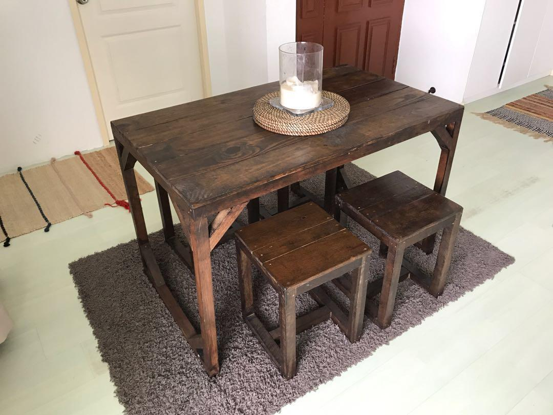 Dark Wood Dining Table With Four Chairs