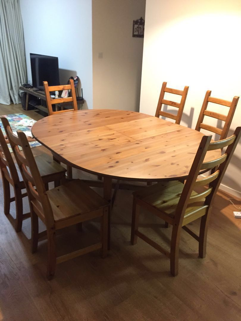 Ikea Extendable Dining Table With 4 Kaustby Chairs Furniture