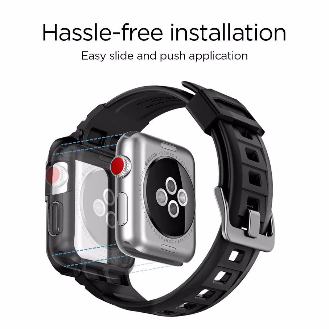 save off e0fbd f8392 [IN-STOCK] Spigen Rugged Armor Pro Designed for Apple Watch Band with Case  for 42mm Series 3/Series 2/1/Original - Black