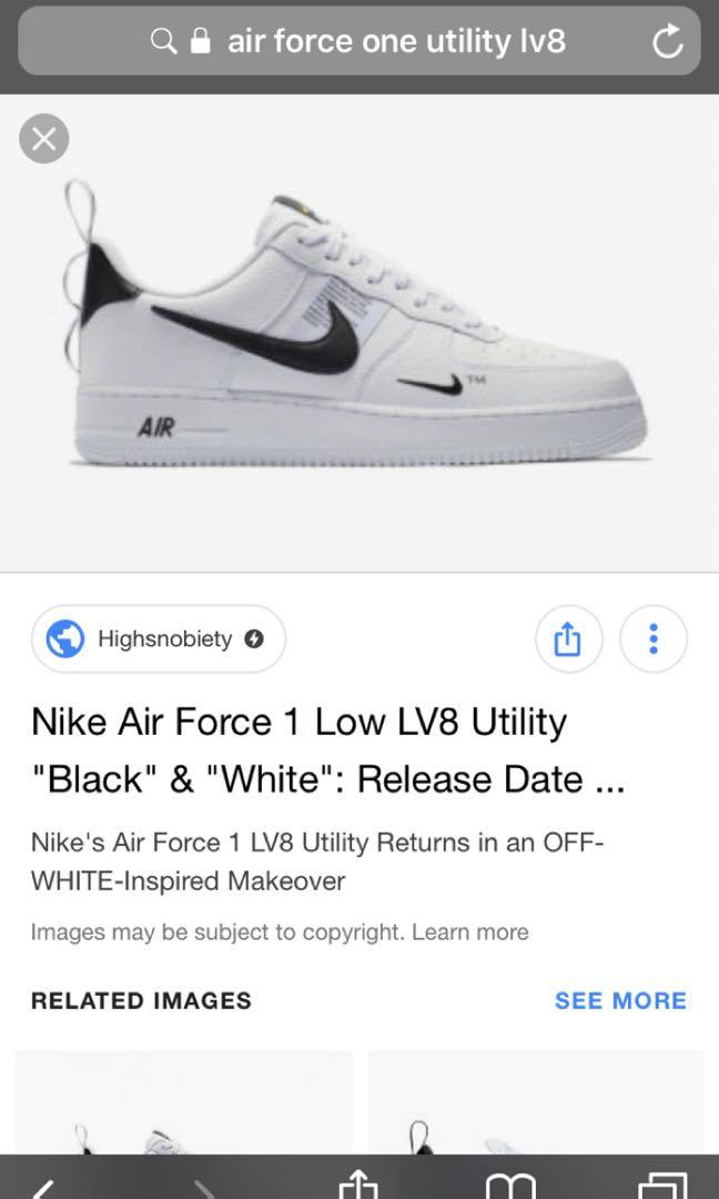 LF] Air Force 1 07 Lv8 utility White, Men's Fashion