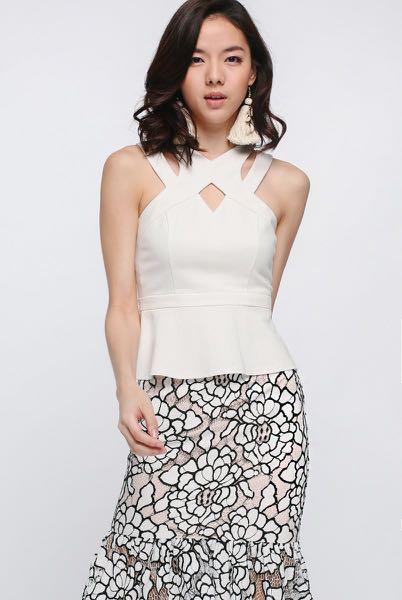 fd6c1b7e2f Love Bonito Shianni Cross Front Peplum Top - White, Women's Fashion ...