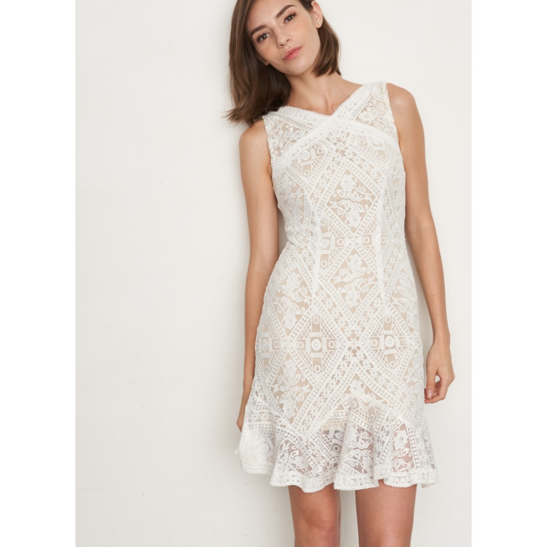 00dfbcceaced Brand New Lovengold Silvia Crochet Lace Dress in White Lace / Cream ...