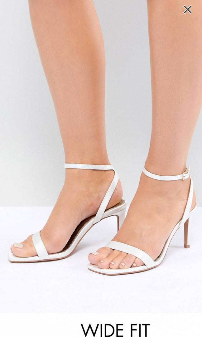 0638a96a8 NEW ASOS DESIGN Half Time Wise Fit Bridal Heels White Satin, Women's  Fashion, Shoes, Heels on Carousell