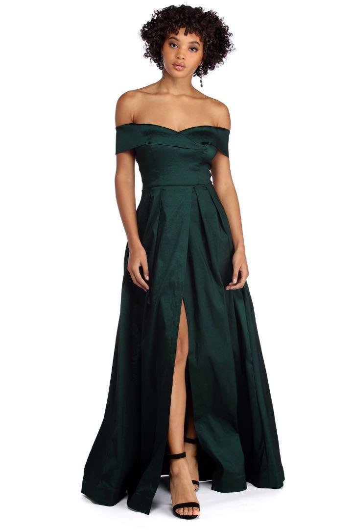 NEW OFF THE SHOULDER EMERALD FORMAL GOWN DRESS