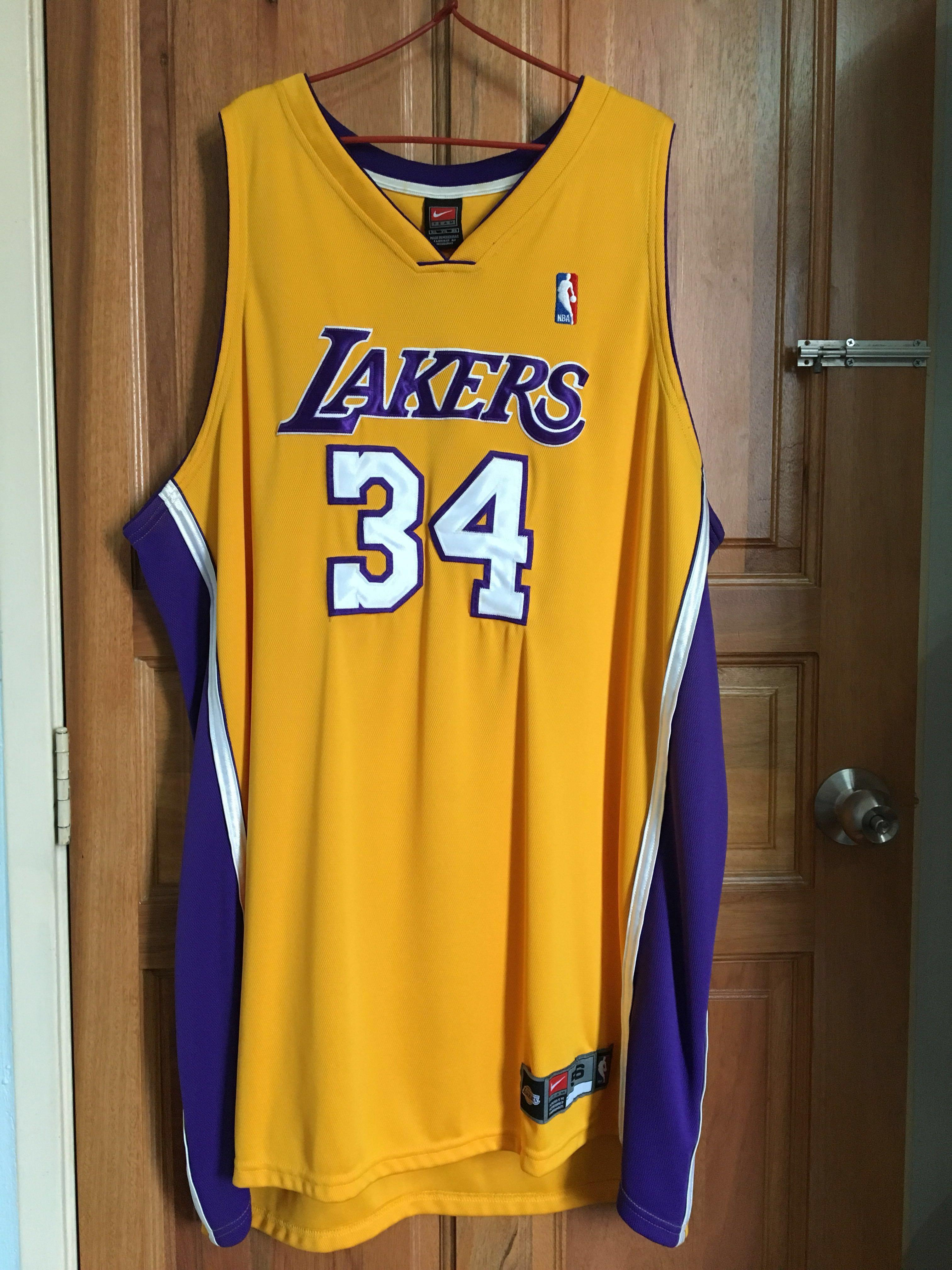 premium selection 2c694 c70a6 Nike NBA authentic Shaq Lakers jersey 3XL, Sports, Sports ...