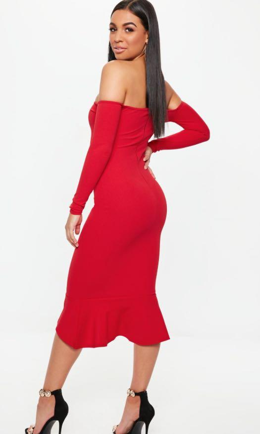 Red fishtail bodycon midi dress